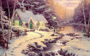 Evening Glow Thomas Kinkade Landscapes river Oil Paintings