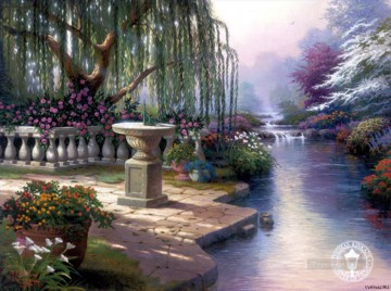 Hour Painting - Hour of Prayer Thomas Kinkade Landscapes river