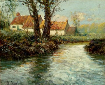 House By The impressionism Norwegian landscape Frits Thaulow river Oil Paintings