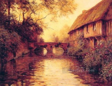 Houses by the River landscape Louis Aston Knight Oil Paintings