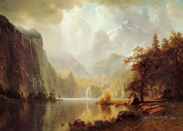 In the Mountains Albert Bierstadt Landscapes river Oil Paintings