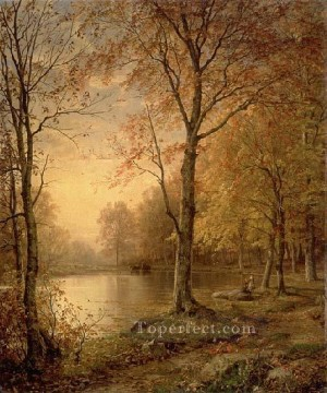 Indian Summer scenery William Trost Richards Landscapes river Oil Paintings