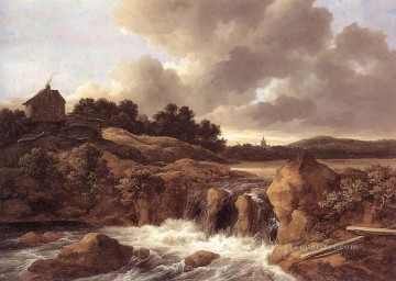 Landscape With Waterfall Jacob Isaakszoon van Ruisdael river Oil Paintings