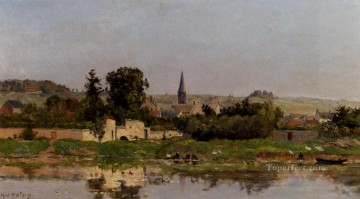 Lavandieres Au Bord De L Eau scenes Hippolyte Camille Delpy Landscapes river Oil Paintings