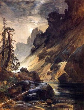 Moonlight Devils Den landscape Thomas Moran river Oil Paintings