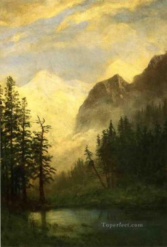 Mountain Landscape Albert Bierstadt river Oil Paintings