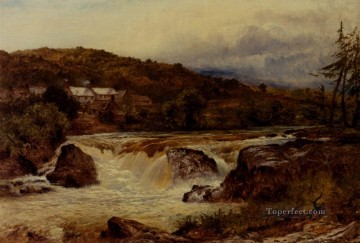 Near Bettws Y Coed The Junction Of The Conway And The Llugwy landscape Benjamin Williams Leader Landscapes river Oil Paintings