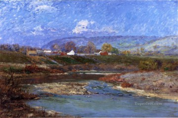 Indiana Oil Painting - November Morning Impressionist Indiana landscapes Theodore Clement Steele river