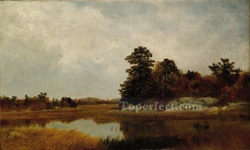 outdoor landscape landscapes scenery scenes impasto kinkade venice seascape street Painting - October In The Marshes seascape John Frederick Kensett Landscapes river