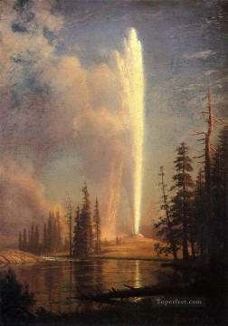 Old Faithful Albert Bierstadt Landscapes river Oil Paintings