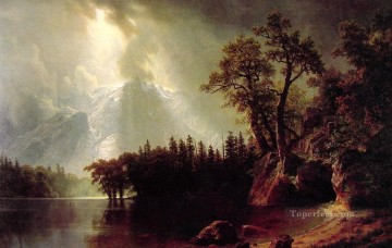 Passing Storm over the Sierra Nevada Albert Bierstadt Landscapes river Oil Paintings