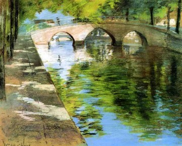Reflections aka Canal Scene impressionism William Merritt Chase Landscapes river Oil Paintings