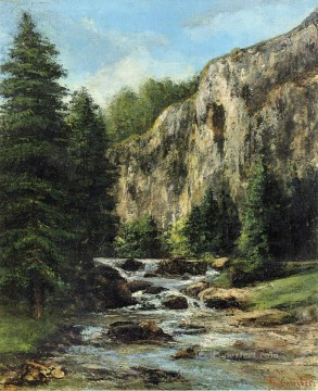 waterfall Painting - Study forLandscape with Waterfall landscape Gustave Courbet river