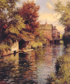 Sunny Afternoon on the Canal landscape Louis Aston Knight river Oil Paintings