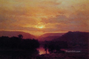 Sunset landscape Tonalist George Inness river Oil Paintings
