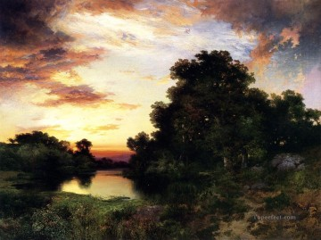 Sunset on Long Island2 landscape Thomas Moran river Oil Paintings