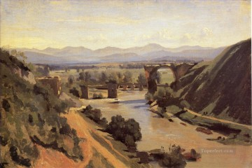 The Augustan Bridge at Narni Jean Baptiste Camille Corot river Oil Paintings
