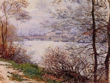 mornings on the seine monet Painting - The Banks of the Seine Ile de la GrandeJatte Claude Monet Landscapes river