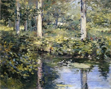 The Duck Pond impressionism landscape Theodore Robinson river Oil Paintings