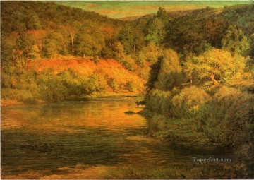 adam Painting - The Ebb of Day aka The Bank landscape John Ottis Adams river