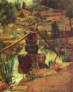 The Fountain in Our Garden at Nikko John LaFarge Landscapes river Oil Paintings