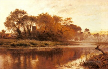 The Last Gleam Wargrave On Thames landscape Benjamin Williams Leader river Oil Paintings