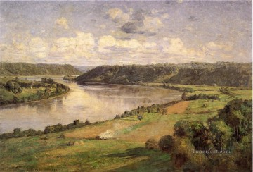 Indiana Oil Painting - The Ohio river from the College Campus Honover Impressionist Indiana landscapes Theodore Clement Steele Landscapes