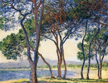Shore Painting - Trees by the Seashore at Antibes Claude Monet Landscapes river