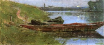 Two Boats impressionism boat landscape Theodore Robinson river Oil Paintings