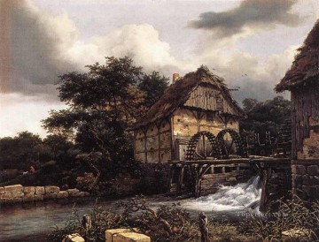 Two Water Mills And Open Sluice landscape Jacob Isaakszoon van Ruisdael river Oil Paintings