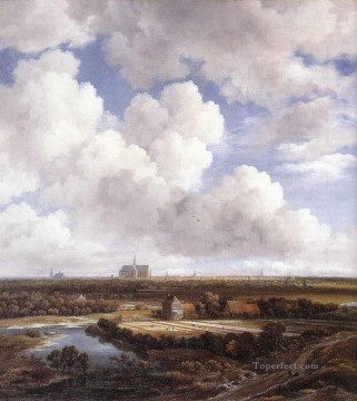 View Of Haarlem With Bleaching Grounds landscape Jacob Isaakszoon van Ruisdael river Oil Paintings