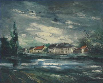 Landscapes Painting - Village by the river Maurice de Vlaminck landscape