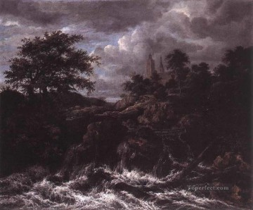 waterfall Painting - Waterfall By A Church landscape Jacob Isaakszoon van Ruisdael river