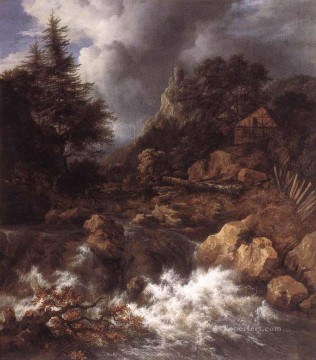 waterfall Painting - Waterfall In A Mountainous Northern Landscape Jacob Isaakszoon van Ruisdael river