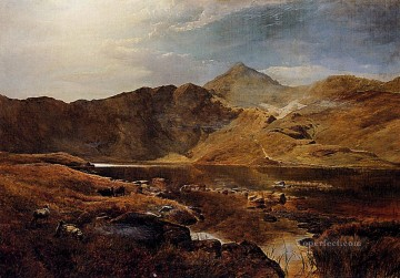 Brook River Stream Painting - Williams Cattle And Sheep In A Scottish Highland Landscape Sidney Richard Percy river
