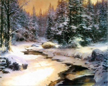 Winter s End Thomas Kinkade Landscapes river Oil Paintings