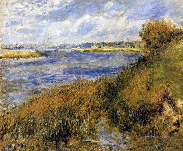 monet banks of the seine Painting - banks of the seine at champrosay Pierre Auguste Renoir Landscapes river