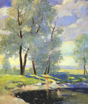 bathing Konstantin Yuon river landscape Oil Paintings