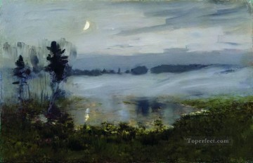 fog over water Isaac Levitan river landscape Oil Paintings