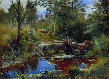landscape with bridge Ivan Ivanovich stream Oil Paintings