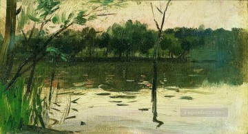 Landscapes Painting - landscape with pink sunset Isaac Levitan river