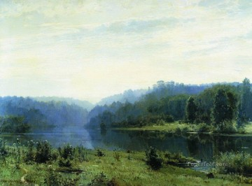 Landscapes Painting - misty morning 1885 classical landscape Ivan Ivanovich river
