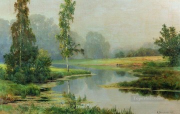 misty morning 1897 classical landscape Ivan Ivanovich river Oil Paintings