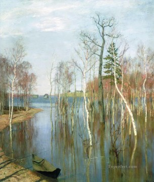 Landscapes Painting - spring high waters 1897 Isaac Levitan river landscape