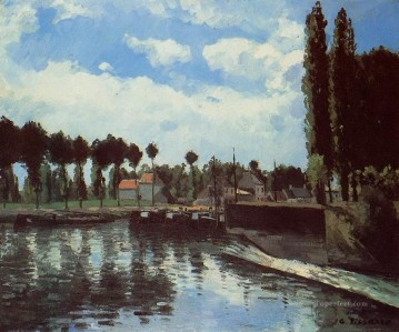 the lock at pontoise Camille Pissarro Landscapes river Oil Paintings