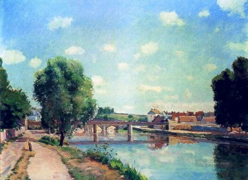 the railway bridge pontoise Camille Pissarro Landscapes river Oil Paintings