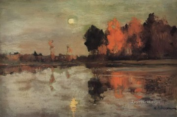 twilight moon 1899 Isaac Levitan river landscape Oil Paintings