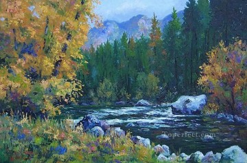 Brook River Stream Painting - yxf039bE impressionism floral river