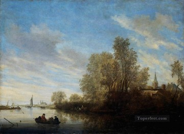 River landscape Salomon van Ruysdael river Oil Paintings