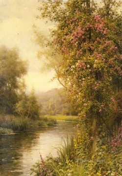 stream Painting - A Flowering Vine Along A Winding Stream landscape Louis Aston Knight